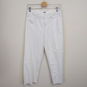Paige White Cropped Raw-Edge Culottes Sz 27'